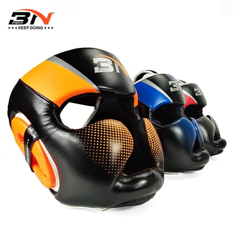 BN Boxing Headgear hombres protector PU cuero sparring cascos medio - Ropa deportiva y accesorios