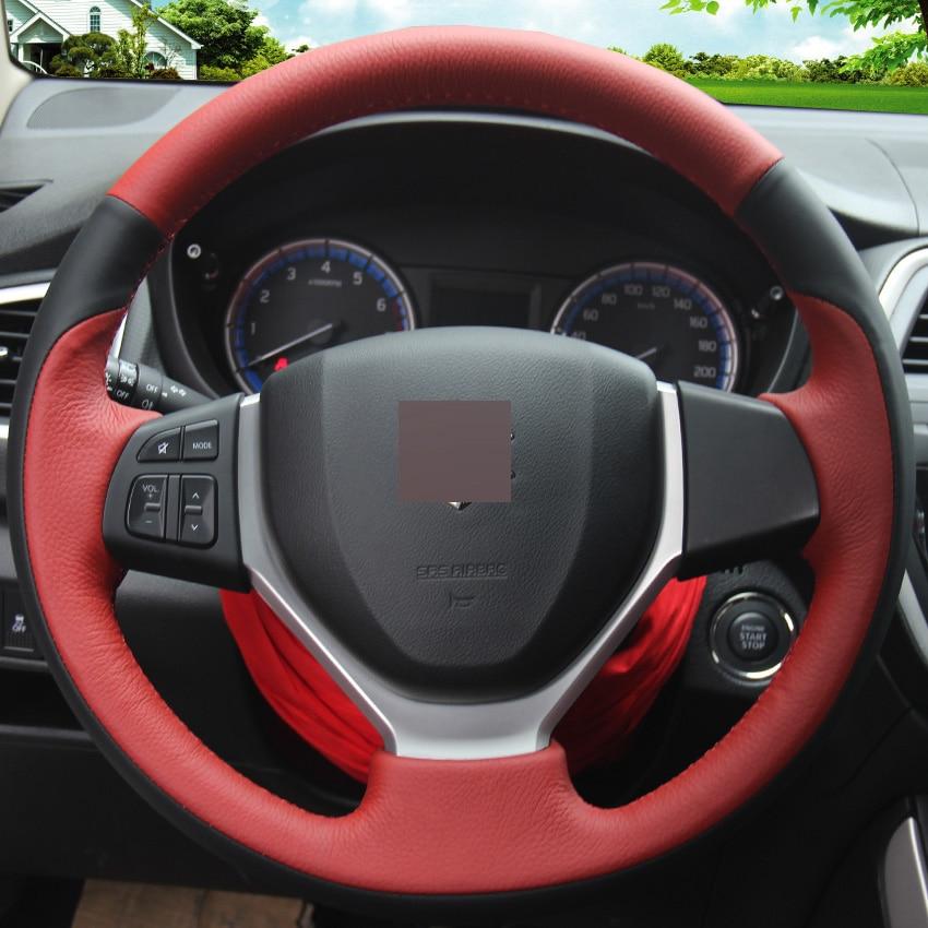 New Black Red Genuine Leather DIY Hand-stitched Steering Wheel Cover for Suzuki CELERIO S-CROSS SX4 2013 2014 Suzuki Vitara XuJi