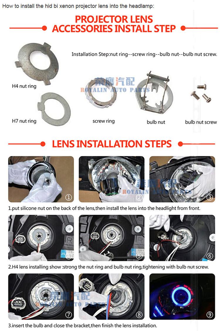 7d744bf144dc0 ROYALIN Car 3.0 inches Metal Headlight Projector Bi Xenon H1 Lens ...