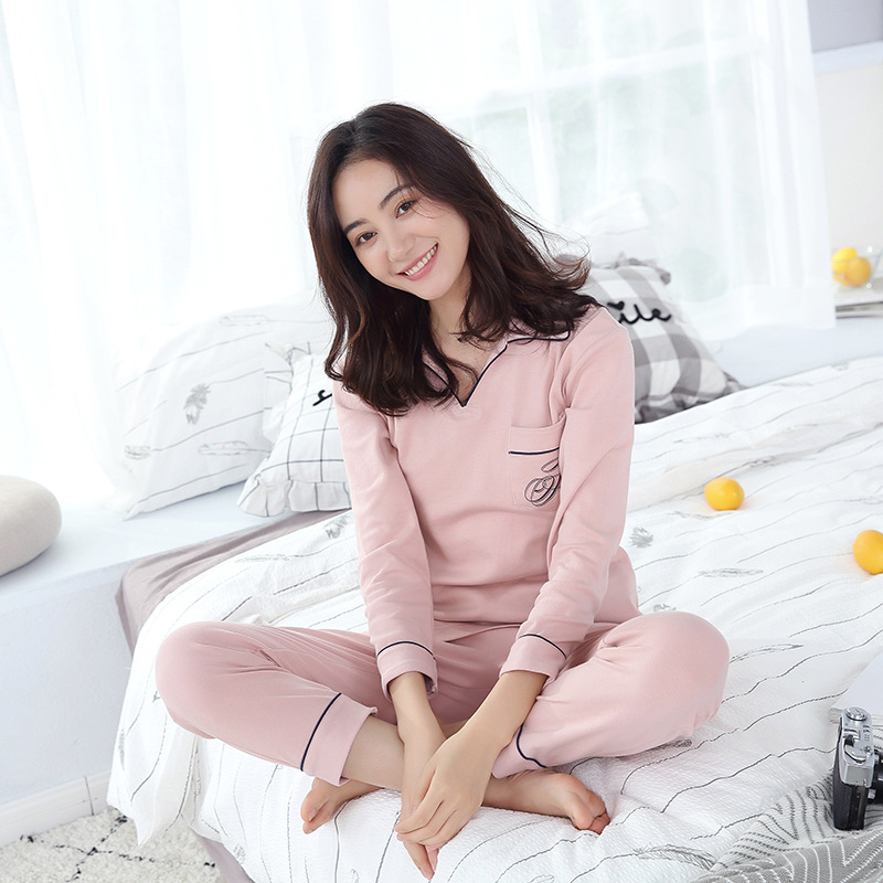 Women\'S Home Clothing Simple Cotton Sanded Pajamas Long Sleeved Comfort Pajama Sets Womens Pyjamas Sleepwear Female