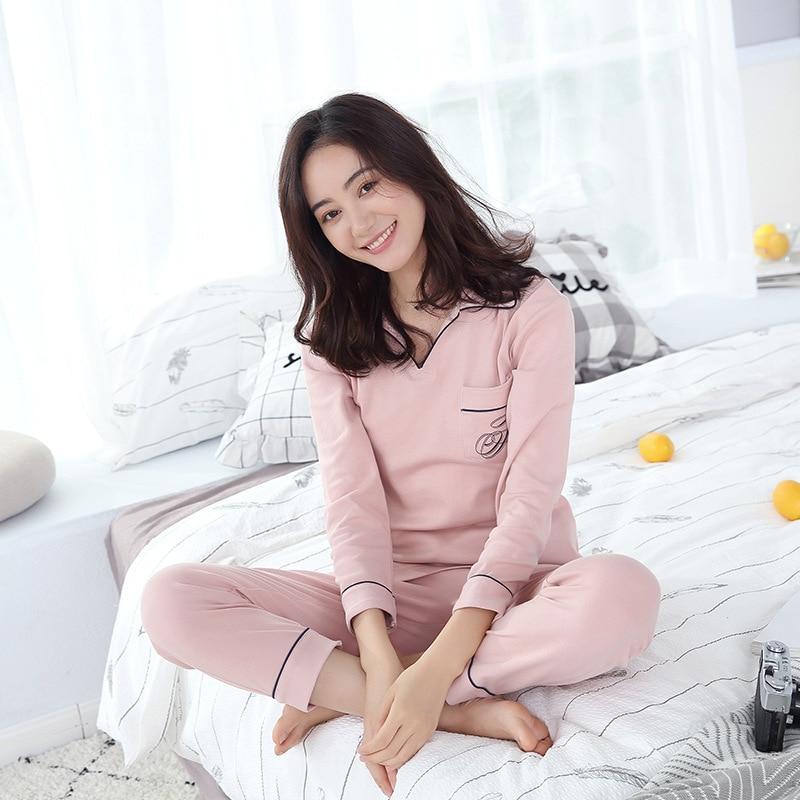 New Women's Home Clothing Simple Cotton Sanded   Pajamas   Long Sleeved Comfort   Pajama     Sets   Womens Pyjamas Sleepwear Female
