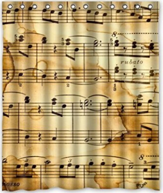 Custom Music Notes Bathroom Waterproof Polyester Fabric Shower Curtain 60 x 72