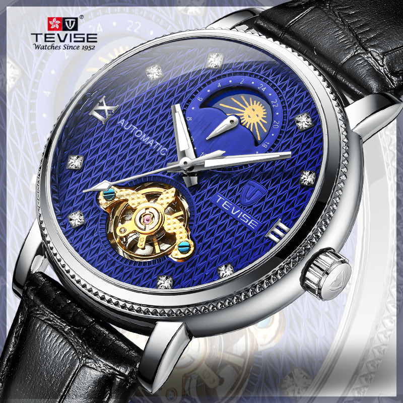 Business-Wrist-Watches Mechanical-Time Moon-Phase Tevise Automatic Luminous-Hands Waterproof