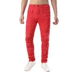 Для мужчин стрейч Slim Fit джинсы для женщин Мода Плиссированные Лоскутная рваные байкерские джинсы мотоцикл эластичные узкие рваные