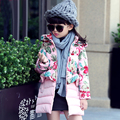Girls Winter Zipper Jacket 2016 New Fashion Belt Cotton Coat for 3-14 Years Kids Print Girls Floral Thick Outerwear