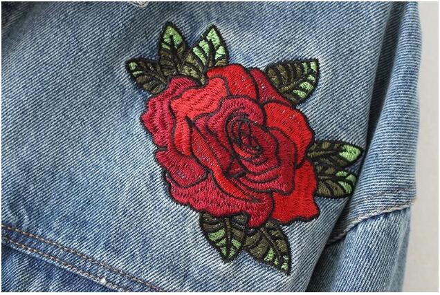 2018 Retour Denim Vintage Poitrine Poches Unique Veste Fleur 2 Drapée Femme Femmes Rose Jean Bleu Survêtement Broderie Manteau Crancé tXwxCx0Bq