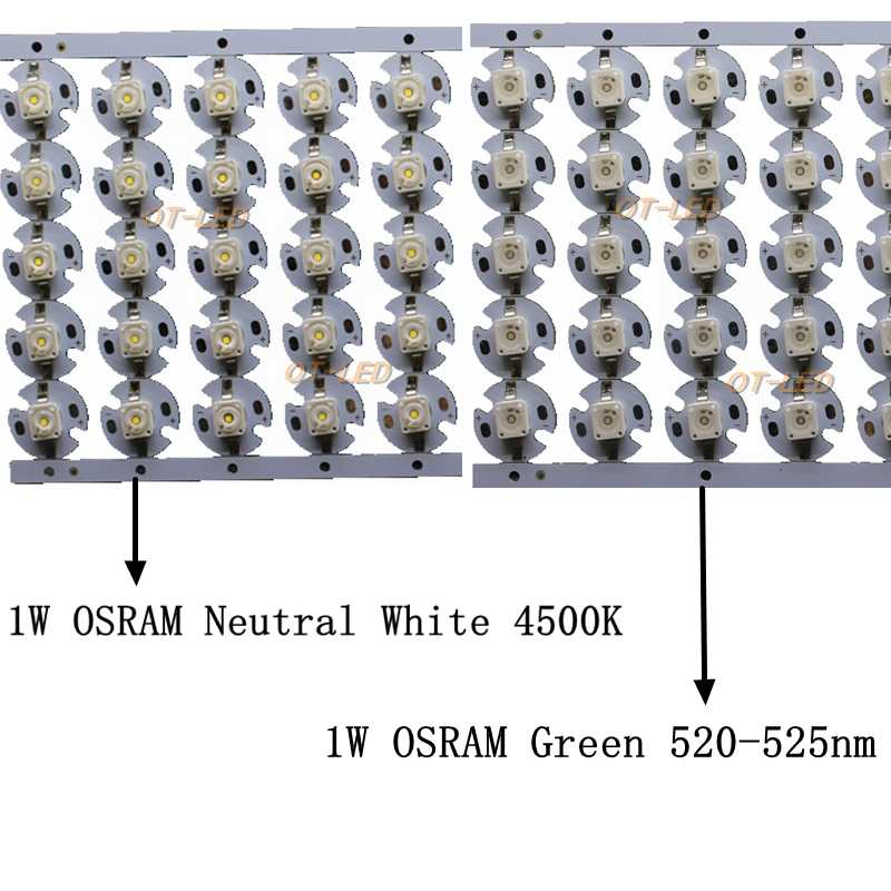 50PCS OSRAM Gold Dragon 1W 3W  High Power LED Chip Diode Pure White 5000K Green 520nm with 16mm pcb Heatsink for DIY/Bulb