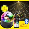 9 видов цветов 9 Вт хрустальный магический шар Светодиодная сценическая лампа для автомобиля Bluetooth 21 режим Дискотека Лазерное освещение для ...