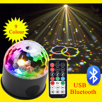 9 Colors 9W Crystal Magic Ball Led Stage Lamp Car Bluetooth 21 Mode Disco Laser Light Party Lights Sound Control USB Laser Stage