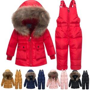 Image 1 - Baby Verdikte Warm Wit Duck Down Set Zuigelingen Russische Winter Outdoor Grote Bontkraag Skipakken Kids Hooded Winddicht sets