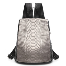 AODUX Womens Designer Popular Genuine Leather Backpack Crocodile Pattern Casual Backpacks School Bags For Girls Fashion Cowhide