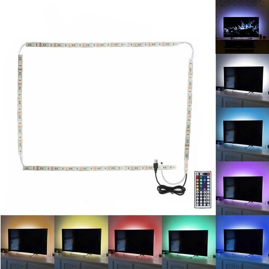 RGB USB LED Strip Light Waterproof 5V USB LED Flexible Mood Ambient Strip 5050 + 44key Remote controller For TV PC Background цена