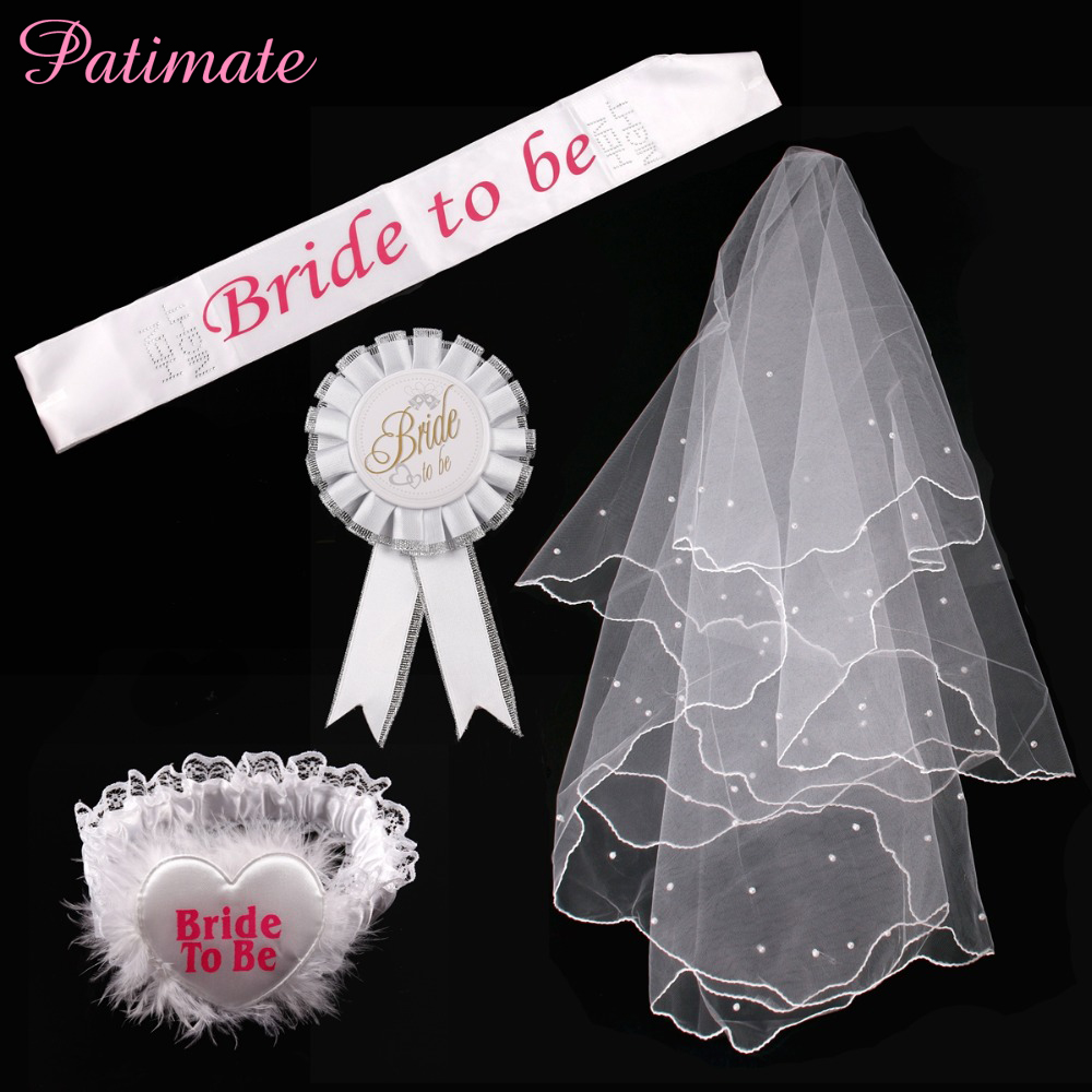 PATIMATE Hen Party Decoration Bride BalloonsTo Be Sash Badge Garter White Veil Bridal Shower Bachelorette Wedding Party Supplies in Party DIY Decorations from Home Garden