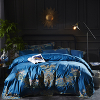 2018 Luxury India style Embroidery bedding sets duvet cover 100% Egyptian Cotton purple red blue bedsheet queen king size