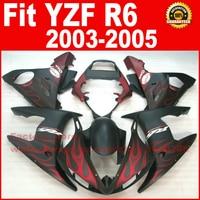 Matte red flames Body kit for YAMAHA R6 fairings 2003 2004 2005 YZF r6 fairing kit 03 04 05 bodywork kits A9M8