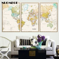 NUOMEGE 3 Pieces World Map Canvas Poster Vintage Retro Wall Art Prints Decorative Picture Nordic Paintings For Living Room Decor
