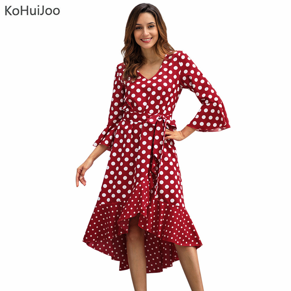 KoHuiJoo Spring Summer Poka Dot Dress Women Vintage 3/4 Sleeve Fashion V Neck Low High Dress V Neck Flare Sleeve Dresses Female