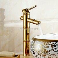 Bamboo Shape Gold Plated Tall & Short Bathroom Faucet Royal Single Handle Single Hole Basin Sink Mixer Tap G 058