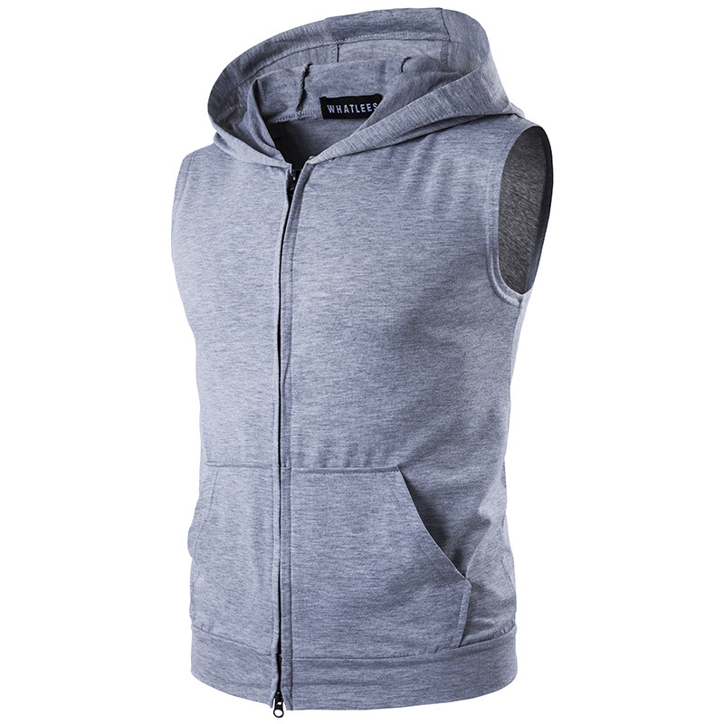 Men's Personality Street Big Pocket Zipper Hooded Cotton Vest Waistcoat Stranger Things Kpop Blusa Masculina Clothing Hip Hop