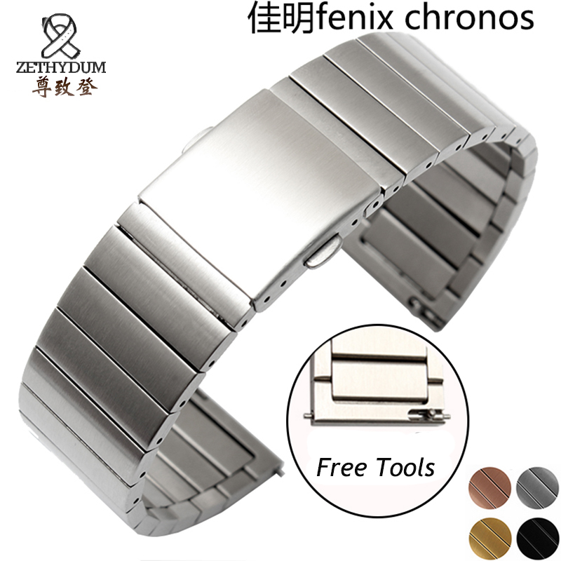 For Garmin Fenix Chronos solid stainless steel watchband 22mm black gold metal band replacement smart watch bracelet outdoor sport strap for garmin fenix 5 metal band with quick fit stainless steel watchband 22mm width for garmin forerunner 935