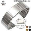 For Garmin Fenix Chronos solid stainless steel watchband 22mm black gold metal band replacement smart watch bracelet