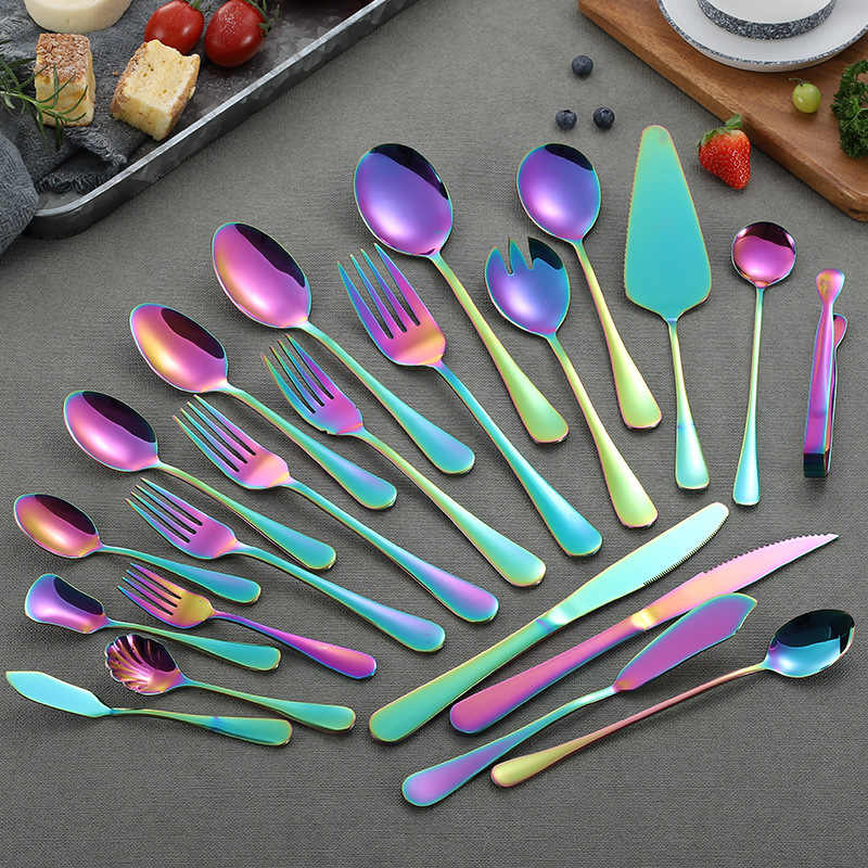 Wholesale Rainbow Cutlery Set Stainless Steel Dinnerware Tableware Silverware Sets Dinner Knife and Fork Drop Shipping