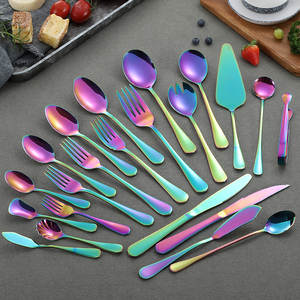 Dinnerware-Tableware Fork Rainbow-Cutlery-Set Stainless-Steel And Wholesale