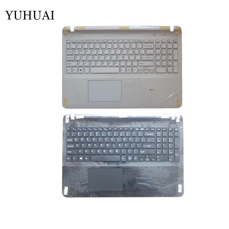 Laptop US keyboard for sony Vaio SVF15323CXW SVF15214CXB SVF152G6EW SVF1532DCYW SVF15414CXW black/white with Palmrest Cover us keyboard laptop for sony vaio svf15ne2e svf152a29m svf15a1m2es svf152a29u white keyboard with frame palmrest touchpad cover