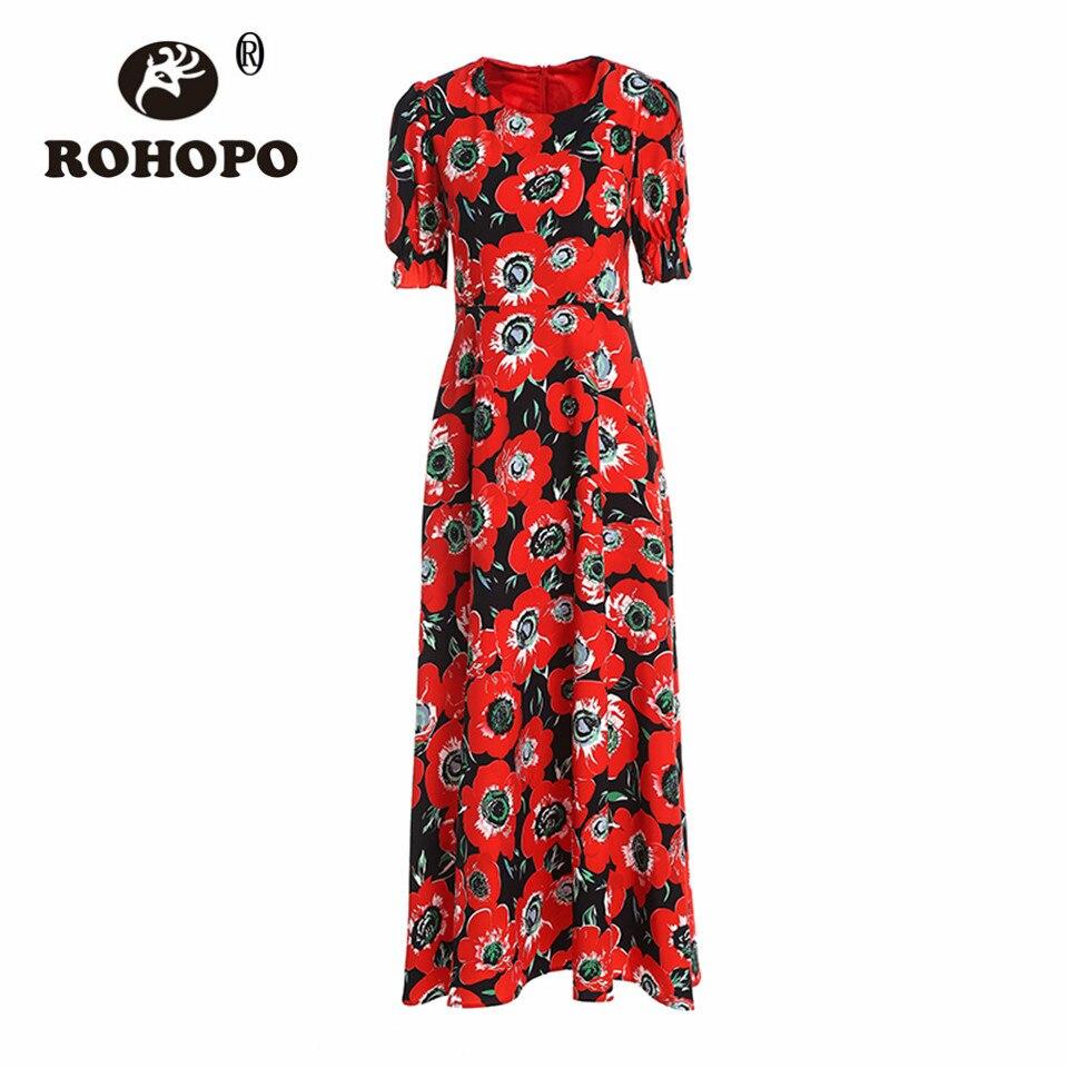 6a09d0a2f1130 De Soie Rouge Fleur Longueur Fille Top Outwear Robe Manches Courtes  Respirant Cheville Robes Rohopo Casual ...