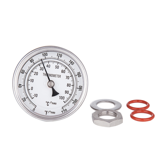 "NEW Weldless Bi-metal Thermometer Kit, 3""Face & 2""Probe, 1/2""MNPT, 0~220F degree Homebrew beer Kettle winemaking Homebrew Mash"