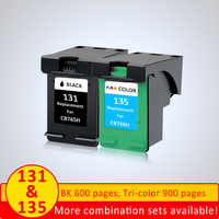 XiangYu 2pcs Ink cartridge replacement for HP 131 135 for hp 2573 2613 8753 PSC 1600 1613 2350 460 5743 5940 5943 6940 printer