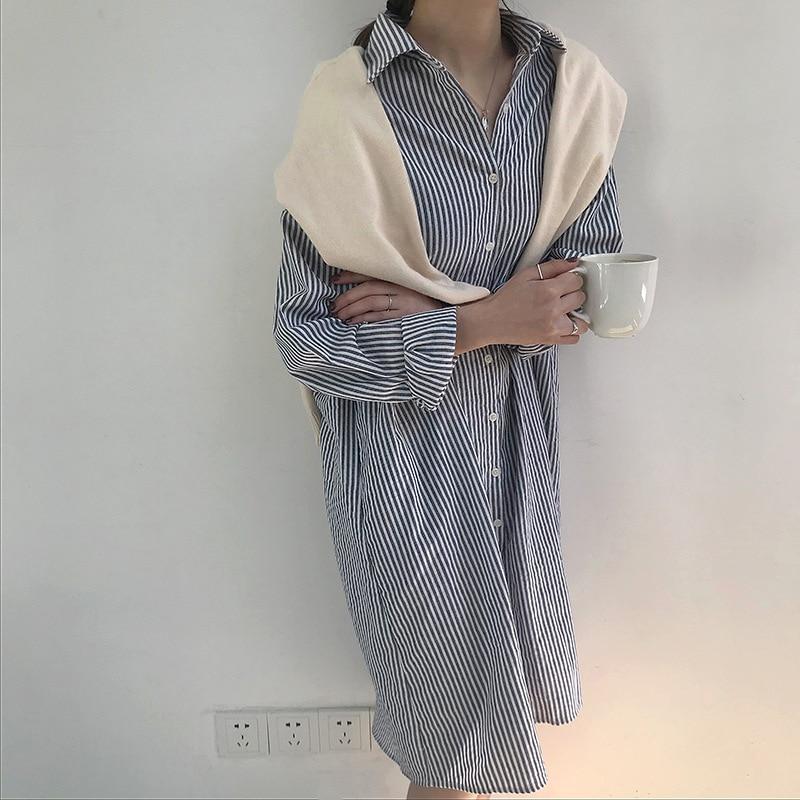 6bcaf35ee66 Mujeres camisa vestido algodón largo novio Camisas rayas oversize estilo  causal en Vestidos de La ropa de las mujeres en AliExpress.com