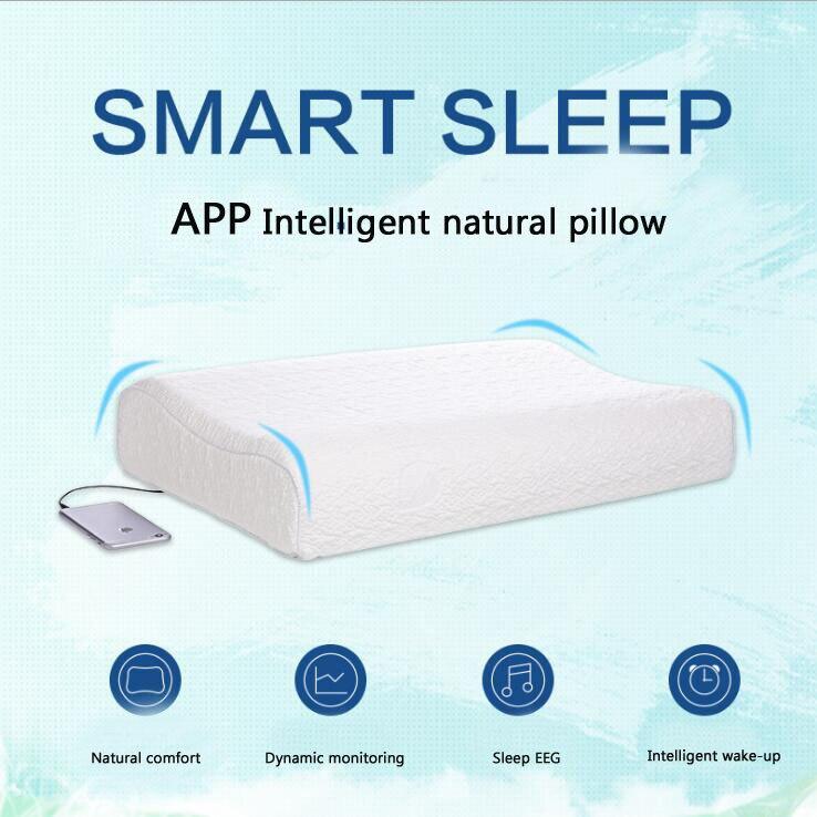 Новая интеллектуальная надувная подушка из латекса для сна с тенсельной крышкой, умная подушка из натурального латекса для шеи, музыка