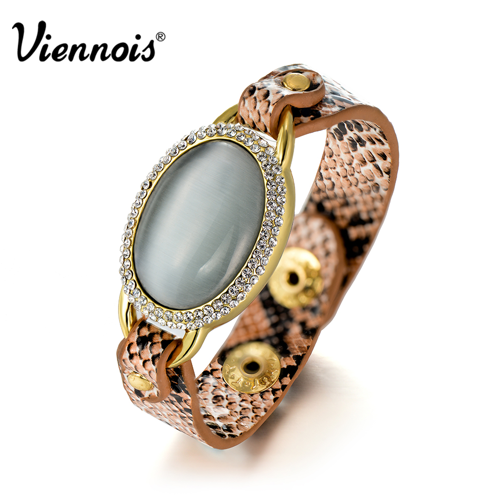 US $80 0 |New Viennois Android/ISO Smart Bracelet for Woman Snake PU  Leather Bangles & Bracelets Message Reminder Fitness Tracker Bracelet-in  Chain &