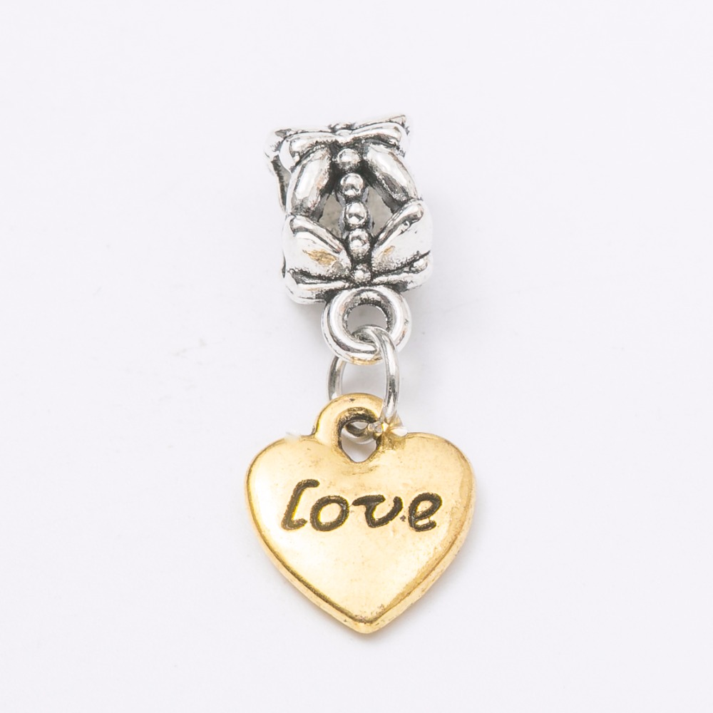 2017 new match 30pcs heart silver Bead fit Pandora charm bracelet DIY dangle Charm for pendants jewelry making JS1137