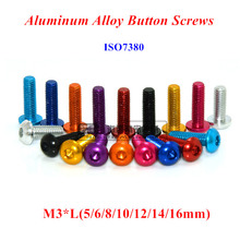 10pcs M3 Aluminum Alloy Button Screws M3*5/6/8/10/12/14/16mm Hex Socket Round head Bolts Anodized 11 color