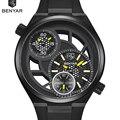 Relojes de Marca BENYAR Hueco Diseño de la Esfera Grande Reloj Hombre Relojes Deportivos para hombres Con Estilo Reloj de Cuarzo Relogio Masculino masculino