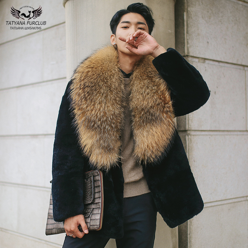 Tatyana Furclub Men Fur Coat Natural Rabbit Fur Coat With Raccoon Dog Collar Warm For Men's Winter Coats Real Fur Jackets Mens