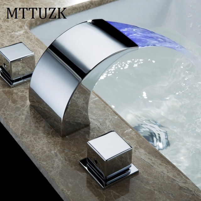 3 hole faucet rectangular mttuzk 3pcs waterfall led bathroom faucet basin faucets deck mounted tap handles hole