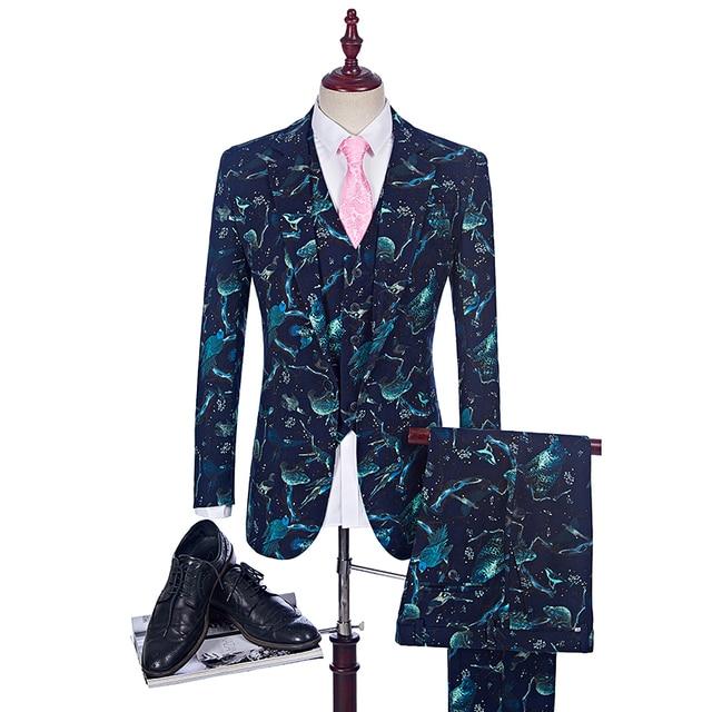 cheap for discount c4770 94790 US $127.68 24% OFF|Neue Mode Herrenanzug Glanz Muster Luxus Casual Men  Bühne Kleidung Vintage Herren Anzüge Prom Hochzeit Bräutigam (Jacke + weste  ...
