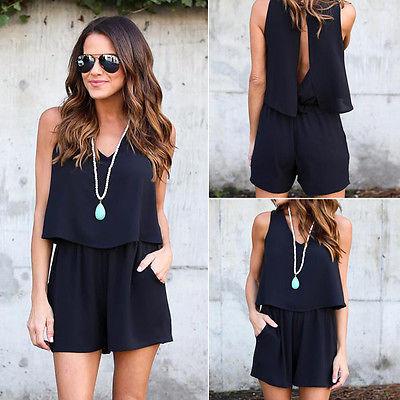 2017 Women Summer Casual   Jumpsuit   Romper Female Fashion Playsuit Clothes Elegant Black Clothing Vintage Overalls Short Body Suit