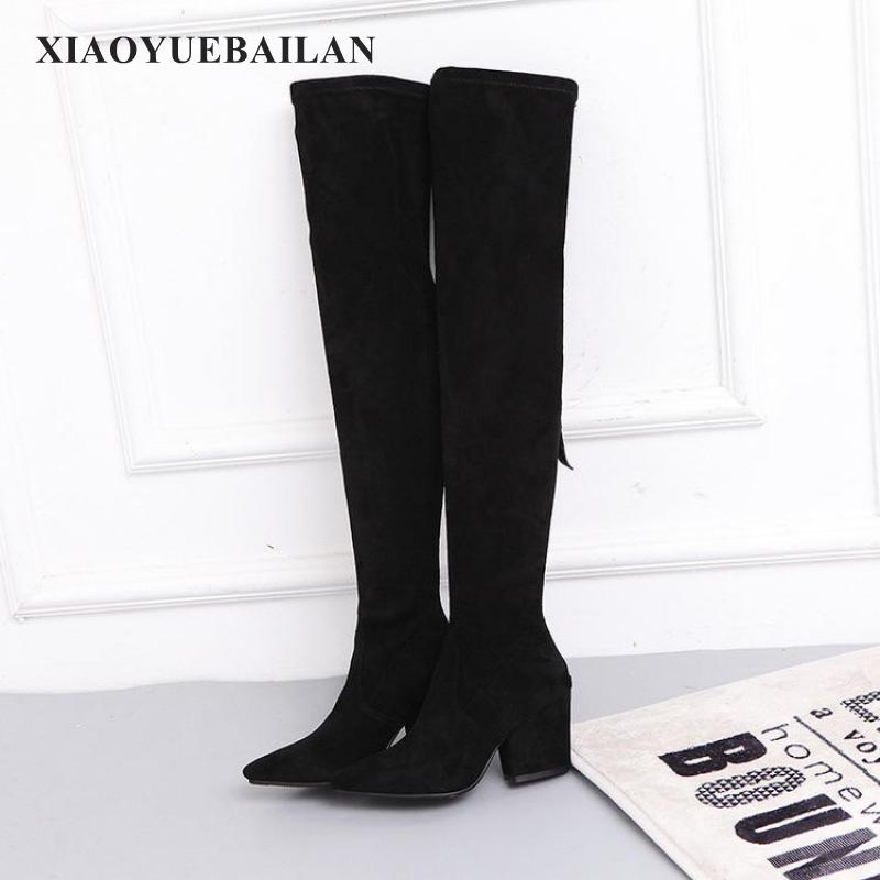 17 New Winter With Thigh Boots Long Canister Leg Elastic Pointed Heels Rough Biker Children