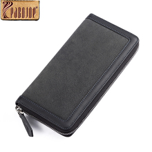 Pabojoe Luxury Designer Brand Genuine Leather Men Wallets Zipper Long Clutch Purse Business Male Wallet Black