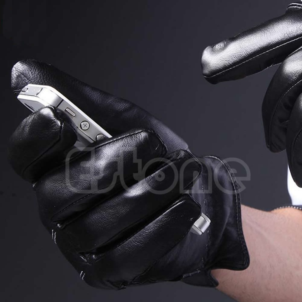 Driving gloves winter - Aliexpress Com Buy 1pair Men 3 Lines Winter Warm Driving Gloves Faux Leather Lined Touch Screen Gloves From Reliable Gloves Lace Suppliers On Clothes