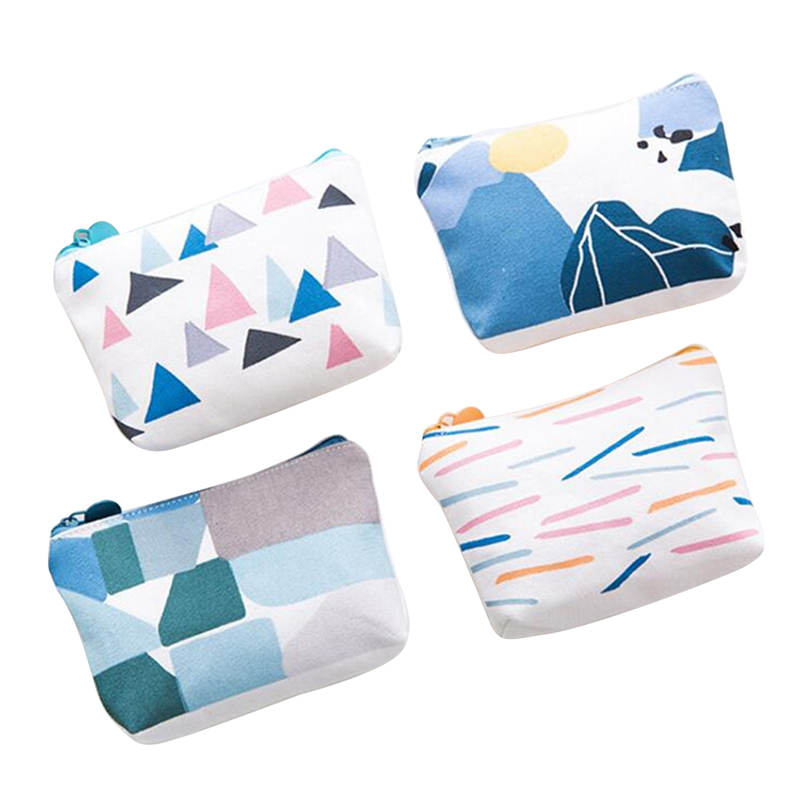 And  PU Casual Canvas Coin Purse Bag Gift With Zip And Liner (Set Of 4 Floral) Short Wallets