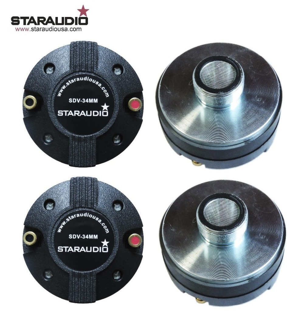 STARAUDIO 4Pcs in a Pack 2000W Titanium Compression 1.35 Screw-On Horn Driver Tweeters for Powered Speakers SDV-34MM