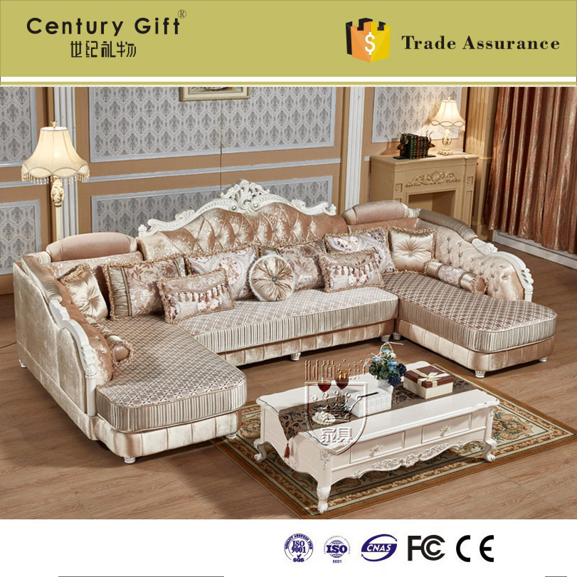 European Style Luxury Living Room Combo Corner Fabric Sofa