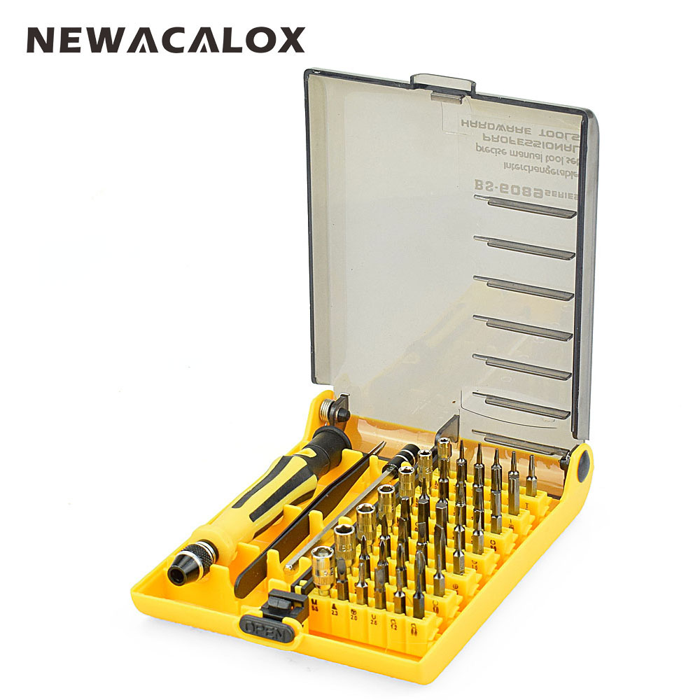 NEWACALOX Precision Screwdriver Set 45 In 1 Magnetic Screw Driver Tool Kit Torx For Mobile Phone Repair Tools portable 8 in 1 aluminum pen style screw driver multi tool precision mobile phone repair tool kit screwdriver set bits black