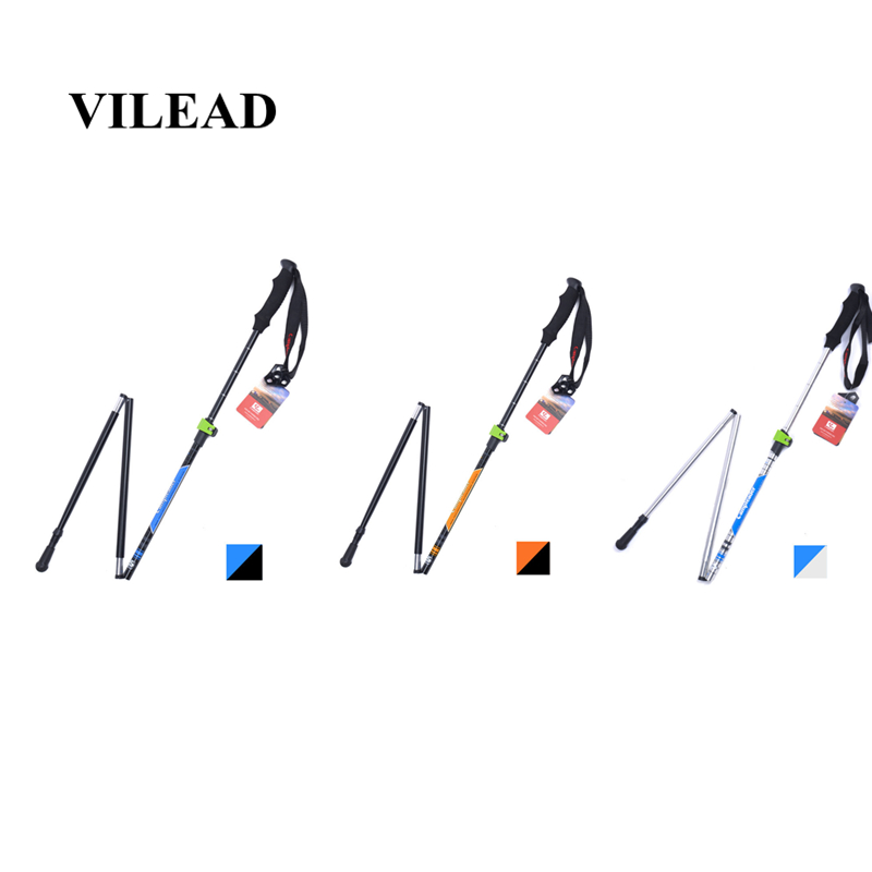 VILEAD Stable 36-125cm Walking Sticks 7075 Aluminum Hiking Trekking Poles Ultralight Camping Folding Nordic Telescopic Crutches