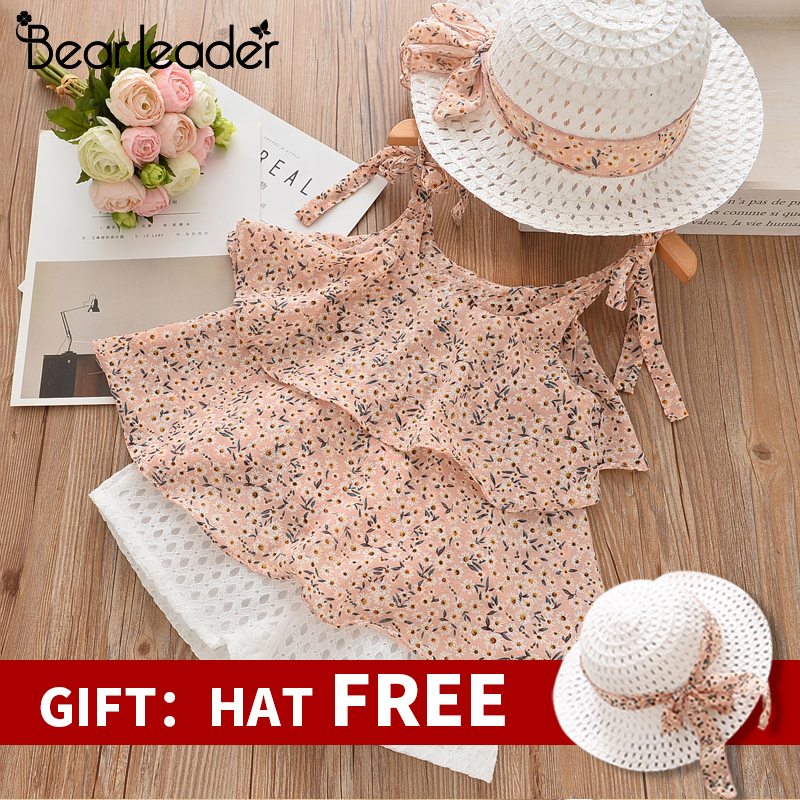 Bear Leader Girls Clothing Sets 2019 Summer Kids Clothes Floral Chiffon Halter+Embroidered Shorts Straw Children Clothing